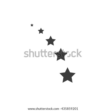 Set of stars from small to large icon. Set of stars from small to large Vector isolated on white background. Flat vector illustration in black. EPS 10