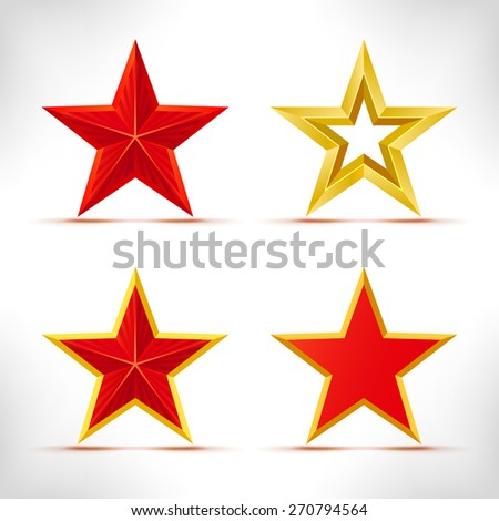 set of stars red and gold