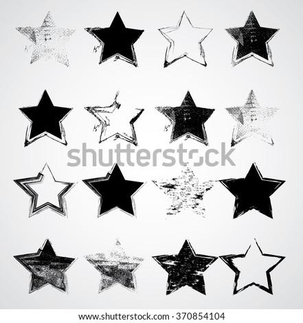 set of stars  vector grunge