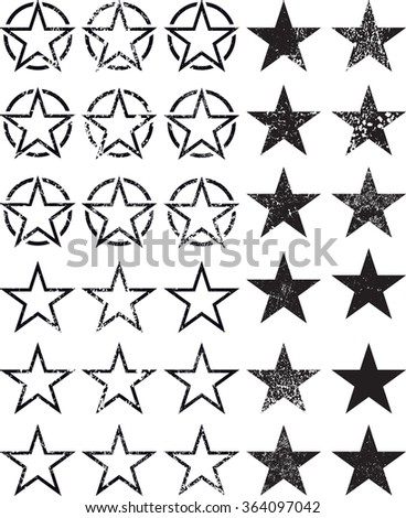set of stars  vector textured