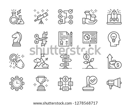 Set of startup and new business line icons. Megaphone, stamp, trophy, time management, money tree, mountain, idea generation, presentation, document, strategy, correct solution, telescope and more.