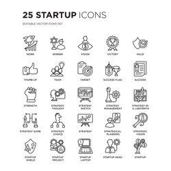 Set of 25 Startup linear icons such as Work, Winner, Vision, Victory, Valid, Success, Strategy in a labyrinth, vector illustration of trendy icon pack. Line icons with thin line stroke.