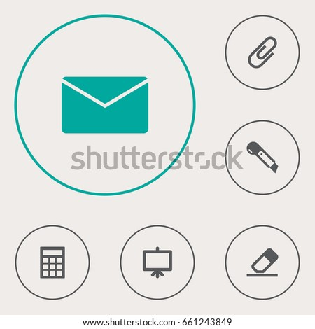 Set Of 6 Stationery Icons Set.Collection Of Knife, Whiteboard, Mail And Other Elements.