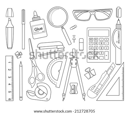 Set of stationery tools outlines: marker, paper clip, pen, binder, clip, ruler, glue, zoom, scissors, scotch tape, stapler, corrector, glasses, pencil, calculator, eraser, knife, compasses, protractor