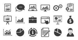Set of Statistics, Accounting and Report icons. Information, chat bubble icon. Charts, Presentation and Pie-chart signs. Analysis, Money bag and Business case symbols. Quality set. Vector