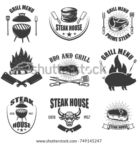 Set of steak house emblems. BBQ and grill. Design elements for logo,label, emblem, sign. Vector illustration