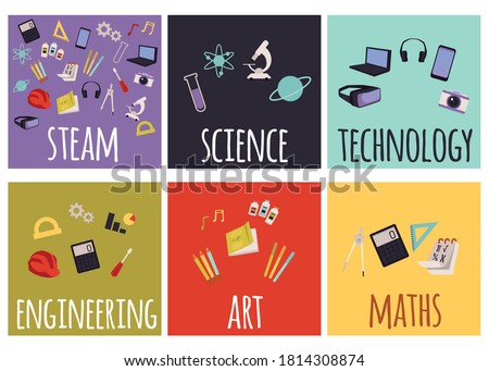 Set of steam education icons for learning and implementing education in real life. School subjects with equipment for studying, flat cartoon vector illustration Stock photo ©
