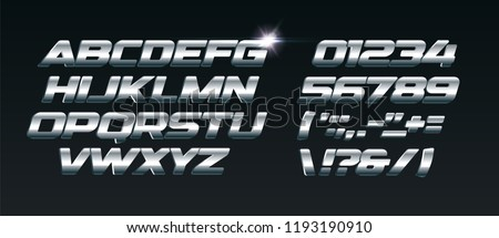 Set of steel letters. Font for dynamic compositions, like sports events and promotions or logos. Typography design, metal style,