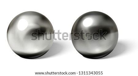 Set of steel or silver balls with shadows from below realistic vector isolated on white background. Shiny, metallic spheres with reflections on chrome or matt surface 3d illustrations collection