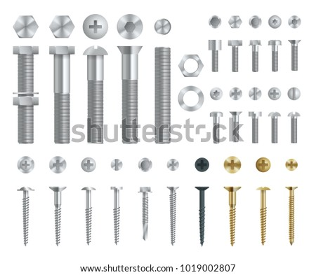 Set of Steel Screws, Bolts, Nuts and Rivets. Top and Side View. Isolated Vector Elements