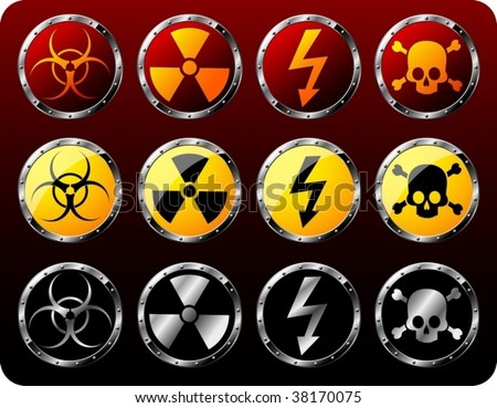 Set of steel shields with warning symbols - vector