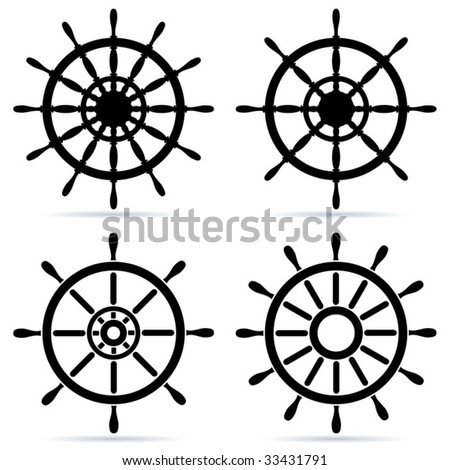 Set of steering wheels - vector
