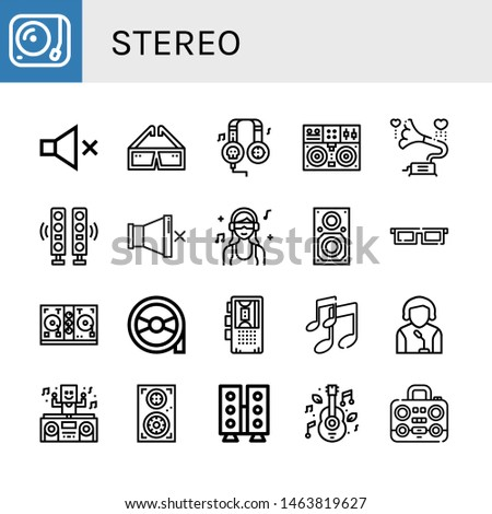 Set of stereo icons such as Turntable, Mute, d glasses, Headphones, Gramophone, Speakers, DJ, Speaker, Disc jockey, Magnetic tape, Dictaphone, Music, Boombox , stereo