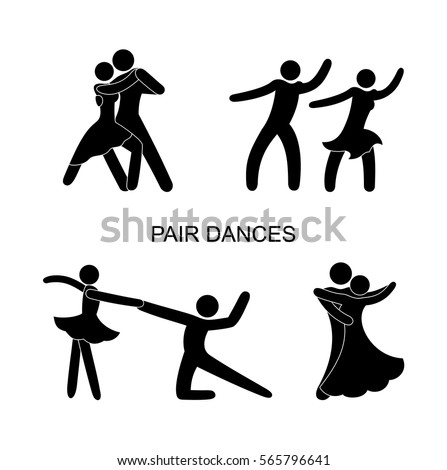 Stock Photo set of stick figure dance, movement, a pair of male and female, different poses