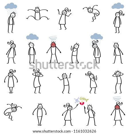Set of stick figures, furious stick people, rage, anger, screaming men and women isolated on white background
