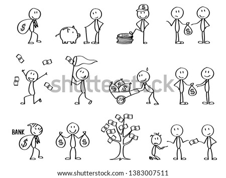 Set of stick figures with the topic Money and finances. Symbolizing rich and poor people and emotions around money. Presentation stick men.