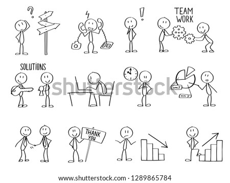 Set of stick men figures for business purposes or presentations.