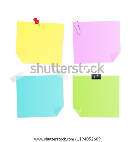 Set of Stick Note colorful paper with red pin,clip,sticky tape,empty space for your message isolated vector on white background.