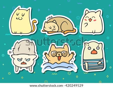 set of 11 sticker doodle cats