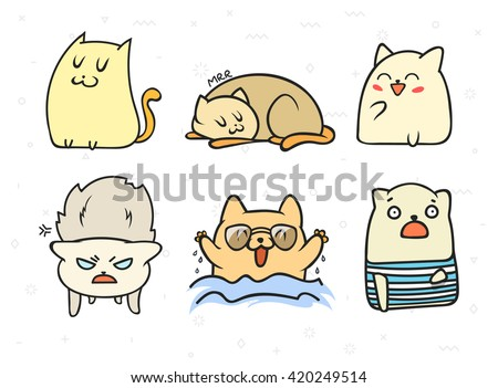 set of 6 sticker doodle cats