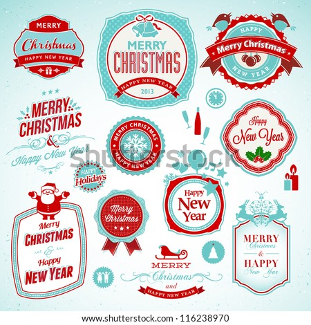 Set of stickers and badges for New Year and Christmas