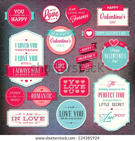 Set of stickers and badges for Valentine`s day