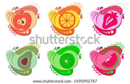 set of stickers and badges of