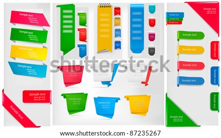 Set of stickers and banners. Vector illustration.