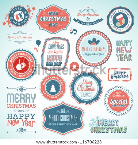 Set of stickers and elements for Christmas and New Year