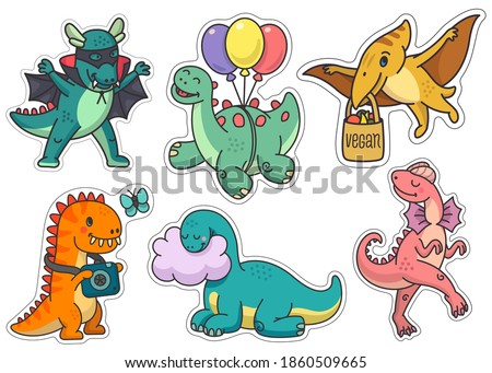 Set of stickers cute dinosaurs of different types. Vector illustrations in bright colors with fun and beautiful characters for use as stickers, design elements, children's illustrations.