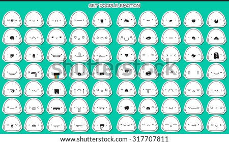 set of 70 stickers cute sketch