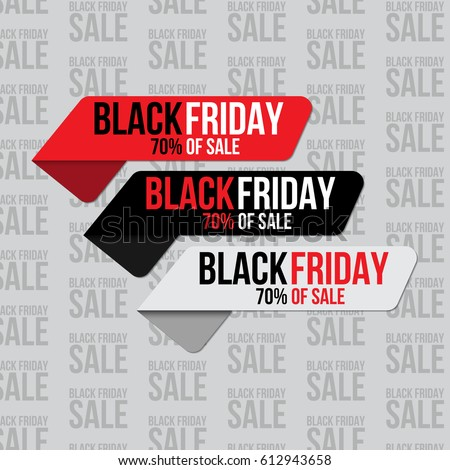 Set of stickers for black friday sale banners