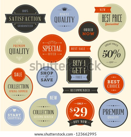 Set of stickers for fashion and beauty products