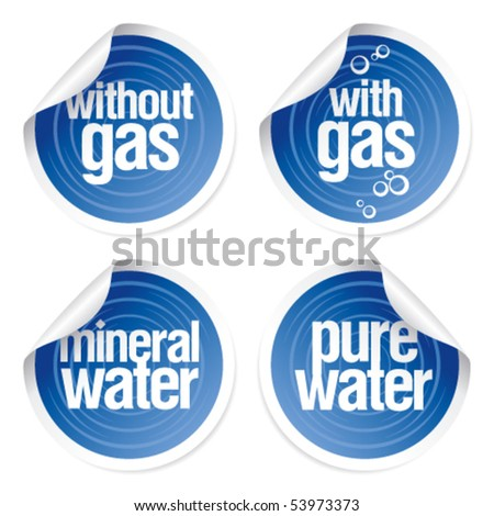 Set of stickers for mineral water.