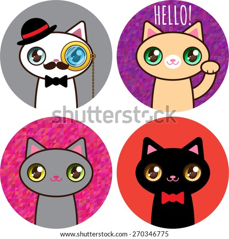 set of stickers funny cats  02