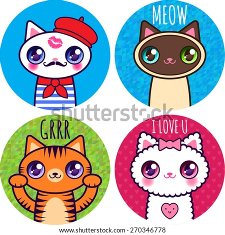 set of stickers funny cats  01