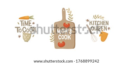 """Set of stickers. Handwritten lettering. Three inscriptions """"time to cook"""", """"mom's cook"""", """"kitchen queen """". Vintage kitchen utensils, vegetables. Bowl, whisk, cutting board, potholder, carrot, tomato."""