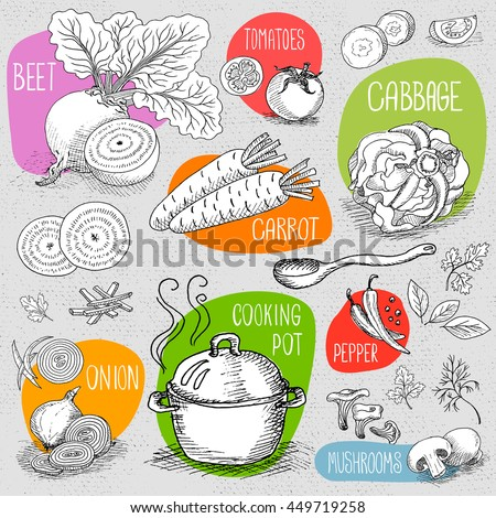 Set of stickers in sketch style, food and spices, old paper textured background. Cooking Pot, soup, spoon, mushrooms, beet, pepper, cabbage, onion, carrot. Hand drawn vector illustration.