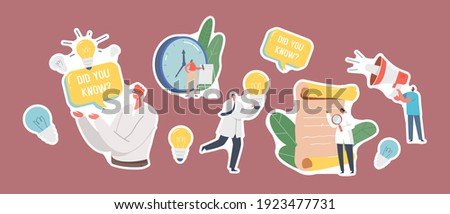 Set of Stickers Interesting Facts Theme. Scientists with Magnifier and Light Bulb, Antique Parchment Scroll Man with Did You Know Speech Bubble Explain Info, Tips. Cartoon People Vector Illustration Foto stock ©