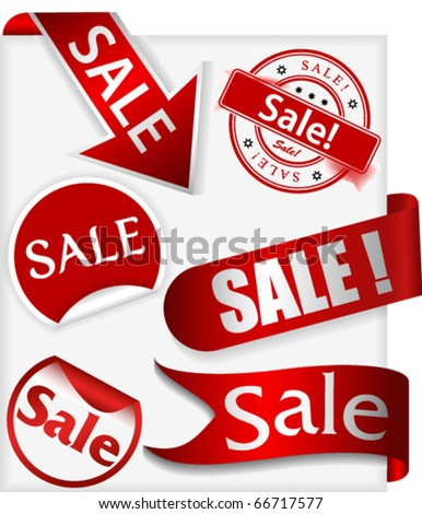 Set of stickers, labels and ribbons with word sale