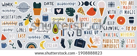 Set of stickers on different topics for daily planner or bullet journaling. Hand drawn doodles and handwritten modern lettering and quotes vector illustrations.