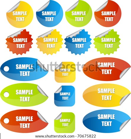set of stickers or tags