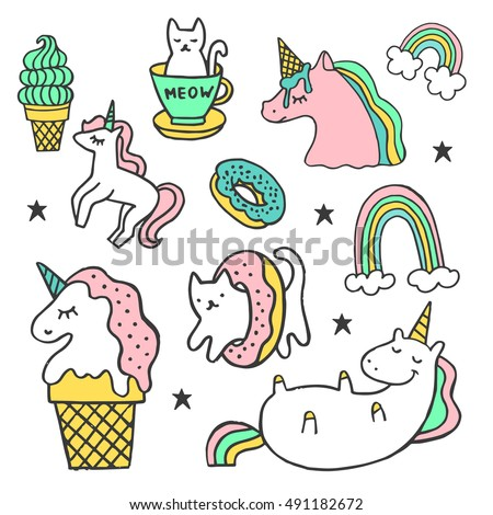 Set of stickers, pins, patches and handwritten lettering collection in cartoon style. Vector illustration isolated on white background. Unicorn, rainbow, cat, ice-cream, donut.