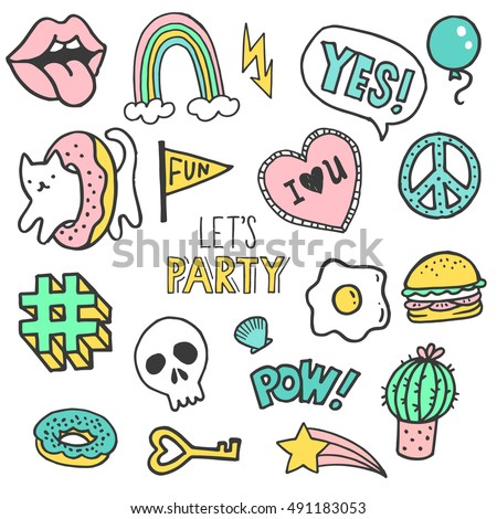 Set of stickers, pins, patches and handwritten lettering collection in cartoon style. Vector illustration isolated on white background. Scull, cat, donut, heart, balloon, lips, hashtag.