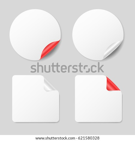 Set of stickers, realistic mockups