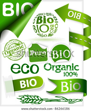 Set of stickers, ribbons, stamps and labels with words: eco, bio, pure and organic
