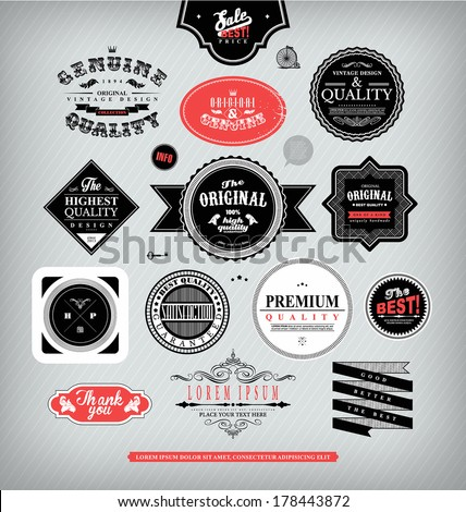 Set of stickers tags frames labels in trendy vintage hipsters style