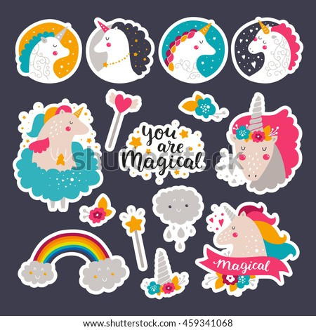 Set of stickers with baby unicorn, rainbow, flowers and hand drawn lettering