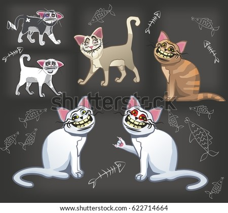 set of stickers with cats
