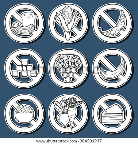 Set of stickers with products prohibited during paleo diet in hand drawn cartoon style: corn, cake, rice, carrot, bread, bean, sugar. Healthy food concept for your design